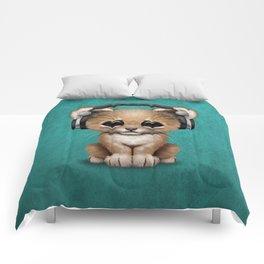 Cute Lion Cub Dj Wearing Headphones on Blue Comforters