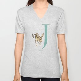 J is for Jerboa: Under Appreciated Animals™ ABC nursery decor dark grey unusual animals Unisex V-Neck
