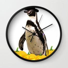Halloween Penguin Witch Hat Jackolanterns Wall Clock
