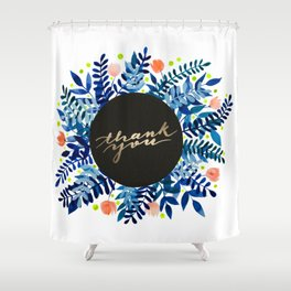 Thank you flowers and branches - blue and orange Shower Curtain