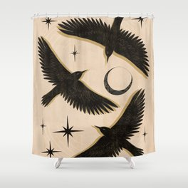 Black birds flying with the Moon Shower Curtain