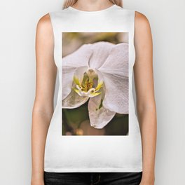 Single White Flower Closeup Biker Tank