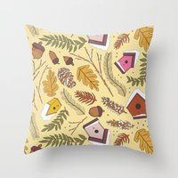 70s Throw Pillows featuring 70s Woodland by Aron Gelineau