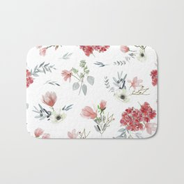 Autumn Floral Pattern Bath Mat