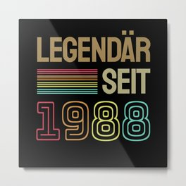 1988 Geburtstag Geschenkideen Metal Print