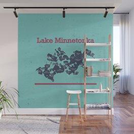 Lake Minnetonka Minnesota Map - colorful - Susanne Johnson Art Wall Mural