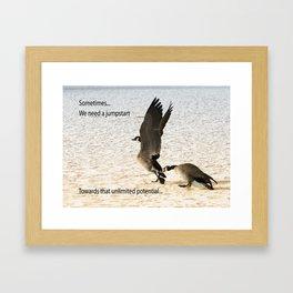 Goosing Framed Art Print
