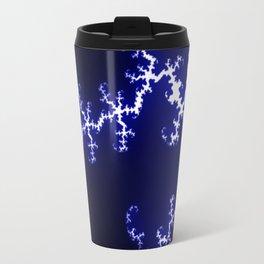 Blue and White Fractal w/Black Background Travel Mug