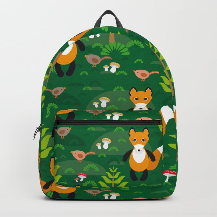 Fox and birds in the forest Backpack