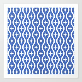 Mid century Modern Bulbous Star Pattern Blue Art Print