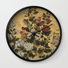 Flowers & Grapes Vintage Japanese Floral Gold Leaf Screen Wall Clock