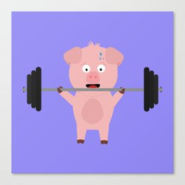 Fitness Pig with Weights Bjzsl Canvas Print