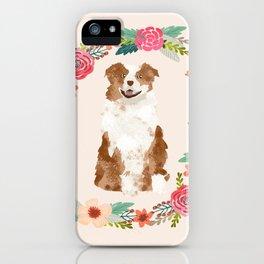 australian shepherd red merle floral wreath dog gifts pet portraits iPhone Case