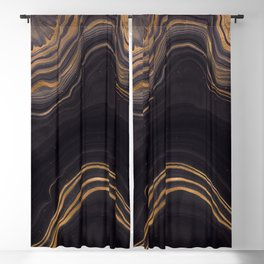 Dark Night Marble With Gold Glitter Waves Blackout Curtain