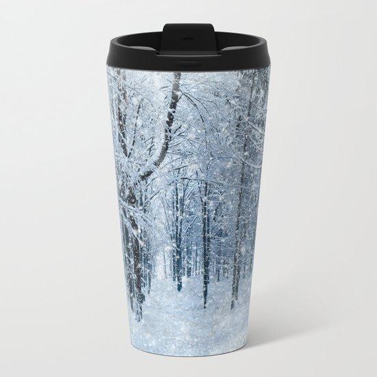 Winter wonderland scenery forest  Metal Travel Mug
