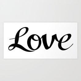 Love Cursive Script Black Art Print