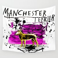 manchester Wall Tapestries featuring Manchester Terier by Genco Demirer