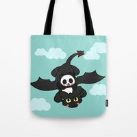 how to train your dragon Tote Bags featuring How Panda Train Your Dragon by Pandakuma Store