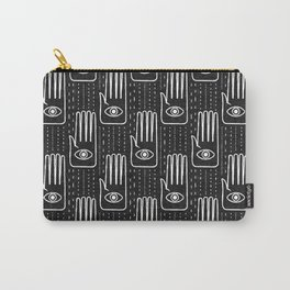 adorned palm - white on black Carry-All Pouch