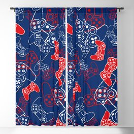 Video Games Red White & Blue 2 Blackout Curtain