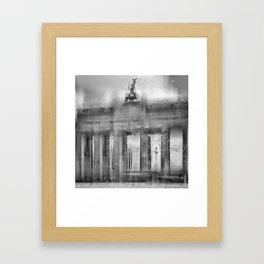 CityArt BERLIN Brandenburg Gate | monochrome Framed Art Print