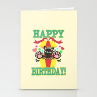 happy birthday Stationery Cards featuring Happy Birthday! by BATKEI