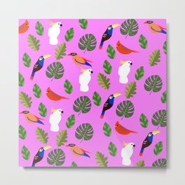 First Songbirds of Spring in Pink Metal Print
