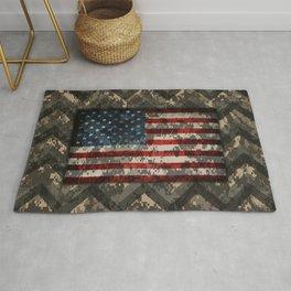 Digital Camo Patriotic Chevrons American Flag Rug