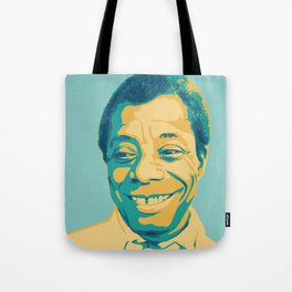 James Baldwin Portrait Teal Gold Blue Tote Bag