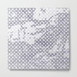 Lilac-gray polka dots with texture Metal Print