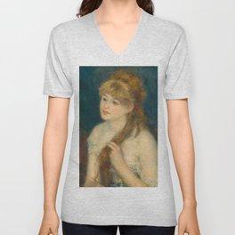 Classic Art - Young Woman Braiding Her Hair - Auguste Renoir Unisex V-Neck