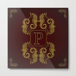 Monogram P seahorse Metal Print