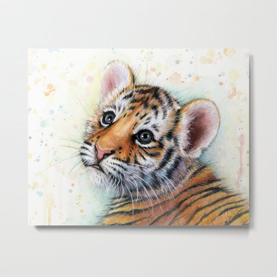 Tiger Cub Cute Baby Animals Metal Print