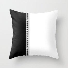 Greek Key 2 - White and Black Throw Pillow