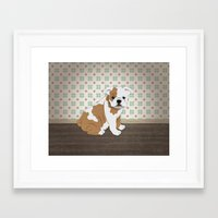 english bulldog Framed Art Prints featuring English Bulldog by The Labs & Co.