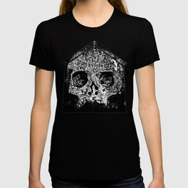 skull on gravestone splatter watercolor black white T-shirt