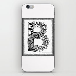 Zentangle B Monogram Alphabet Initial iPhone Skin