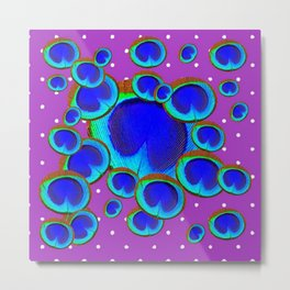 Shades of Blue Peacock Feather Eyes Purple Art Metal Print