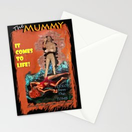 Woman in the red dress meets The Mummy Stationery Cards