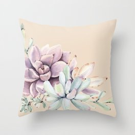 Trendy Apricot + Mint Succulents Throw Pillow