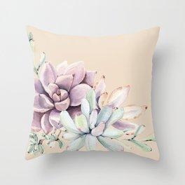 Trendy Apricot + Mint Succulents Throw Pillow