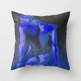 Beautiful Young Woman Wearing Plaits and Panties (Blue) Throw Pillow