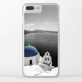 Santorini Blues Clear iPhone Case