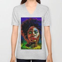 African American Native Daughter Portrait Unisex V-Neck