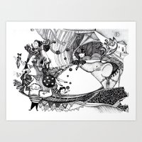circus Art Prints featuring Circus by Ivanushka Tzepesh