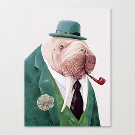 Walrus Green Canvas Print