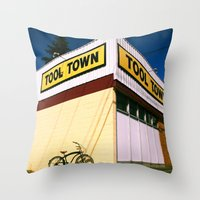 tool Throw Pillows featuring Tool Town by Vorona Photography