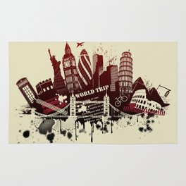 figures on international sites in grunge illustration Rug