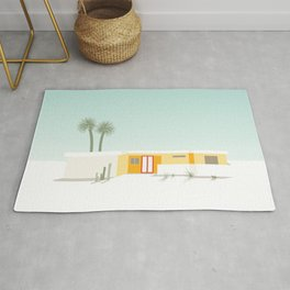 Palm Springs Midcentury Yellow House with Red Door Rug