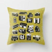 cameras Throw Pillows featuring Cameras by ELCORINTIO